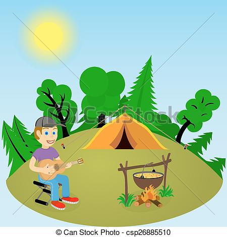 Vector Clip Art of Young guy with a guitar in forest glade near.