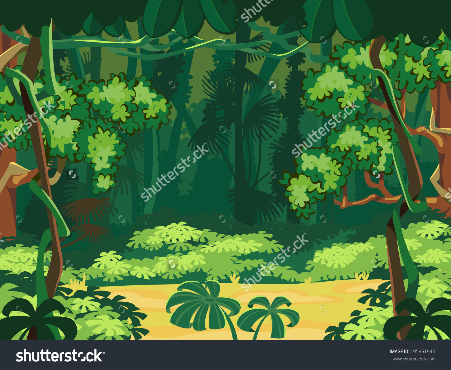 Forest Glade Beautiful Landscape Background Stock Vector 195951944.