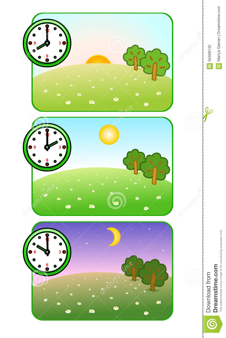 Morning, Noon And Night. Clock Shows Time Of Day. Forest Glade.