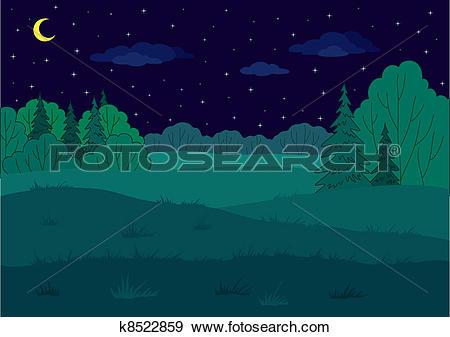 Clip Art of Landscape, summer forest glade k8522859.