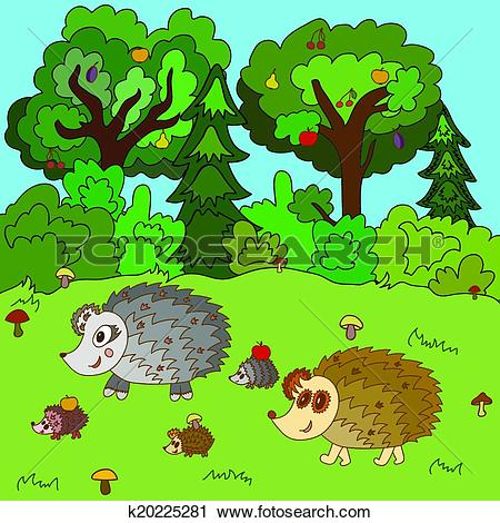 Clipart of Family of hedgehogs walk on a forest glade k20225281.