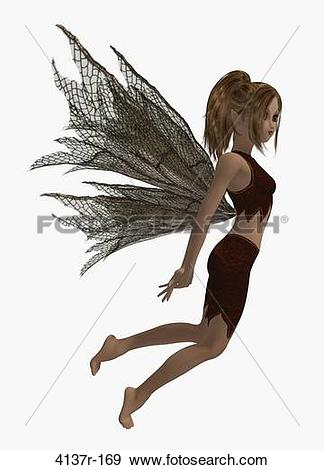 Stock Photograph of Guardian fairy of the forest in a flying pose.