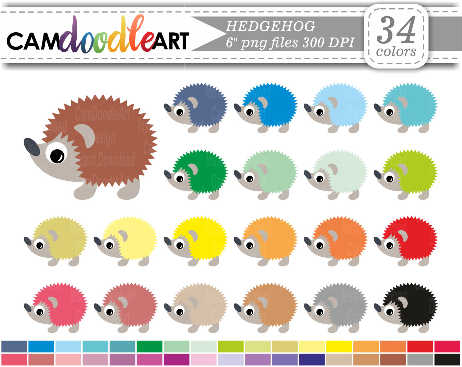 Hedgehog Clipart,Cute Hedgehog,Forest Animals Clipart,Pets Clipart.