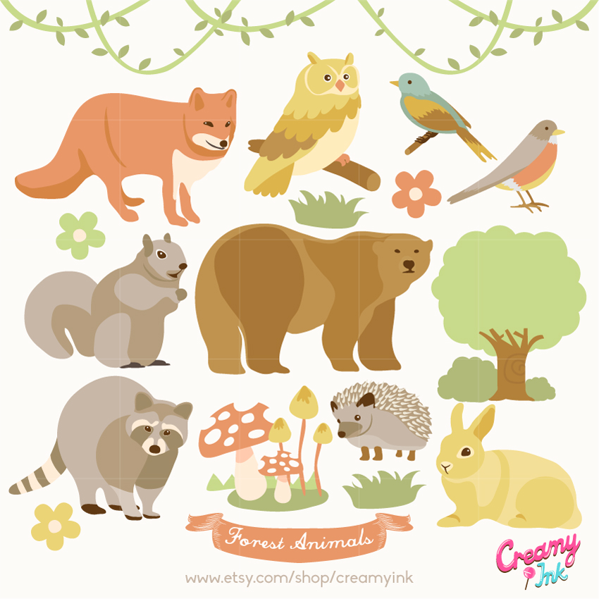 Forest Animals Digital Vector Clip art / Woodland Animal Clipart.
