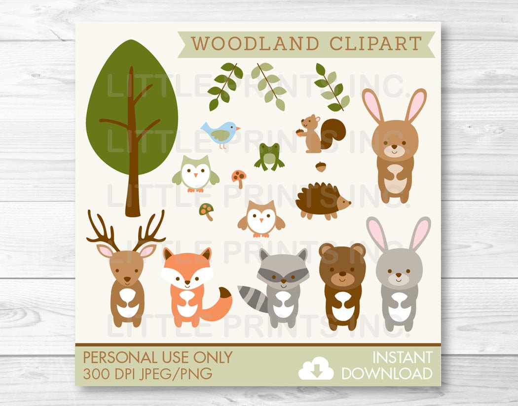 Woodland Forest Animal Clipart Clip Art Fox Deer Bear Owl Raccoon.