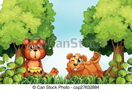 Vector of Bears and forest.