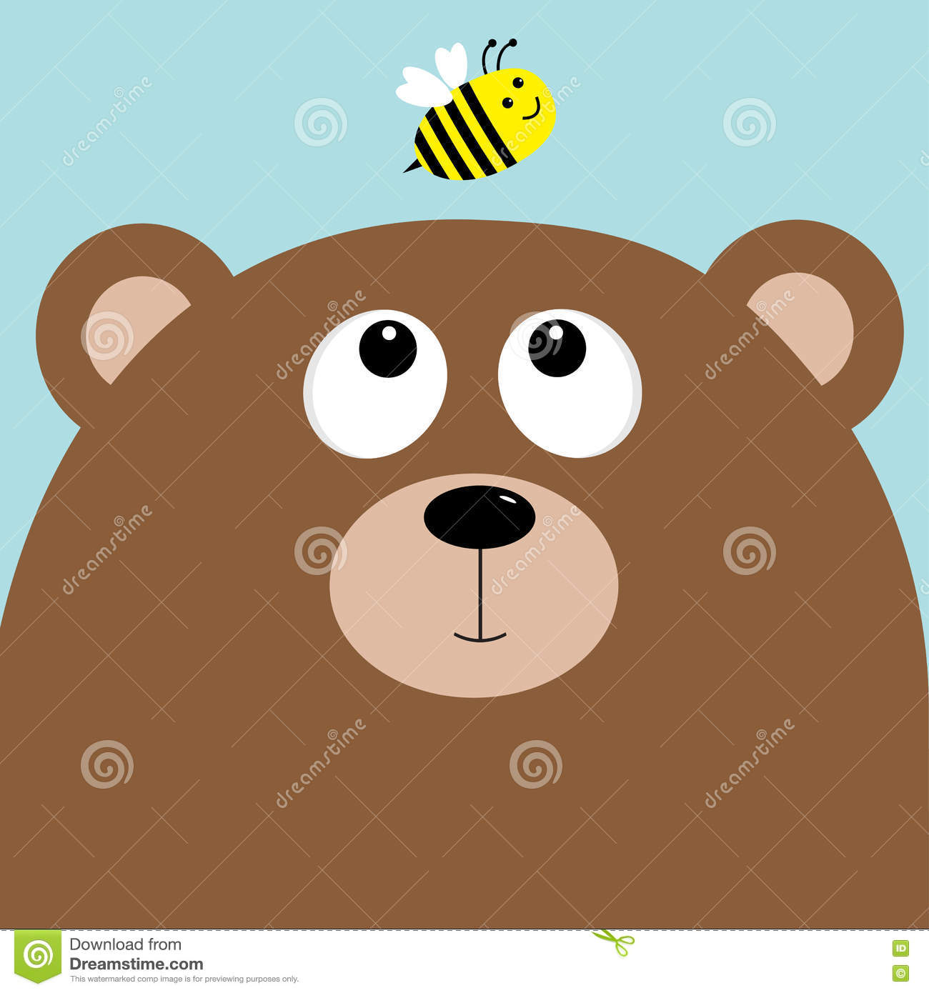 Bear Grizzly Big Head Looking At Honey Bee Insect. Cute Cartoon.