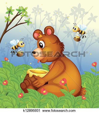 Clipart of A bear and the pot of honey in the middle of the forest.