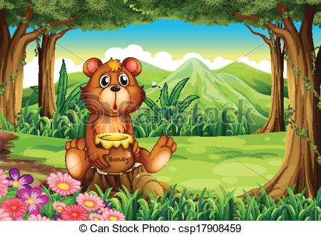 Clipart Vector of A bear at the forest holding a pot of honey.