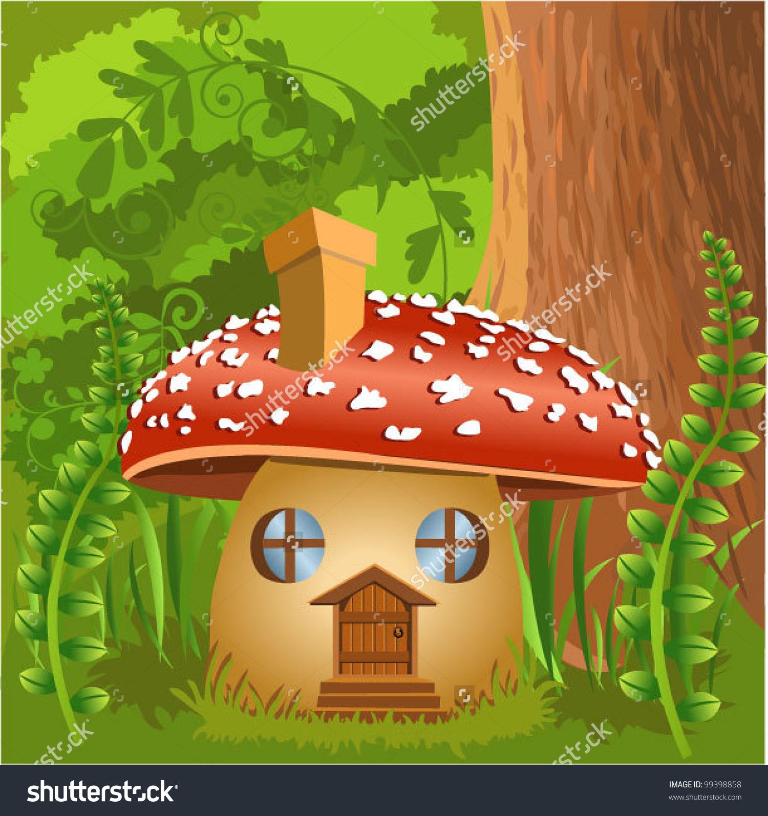 Mushroom House Forest Stock Vector 99398858.