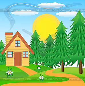 House in forest clipart.