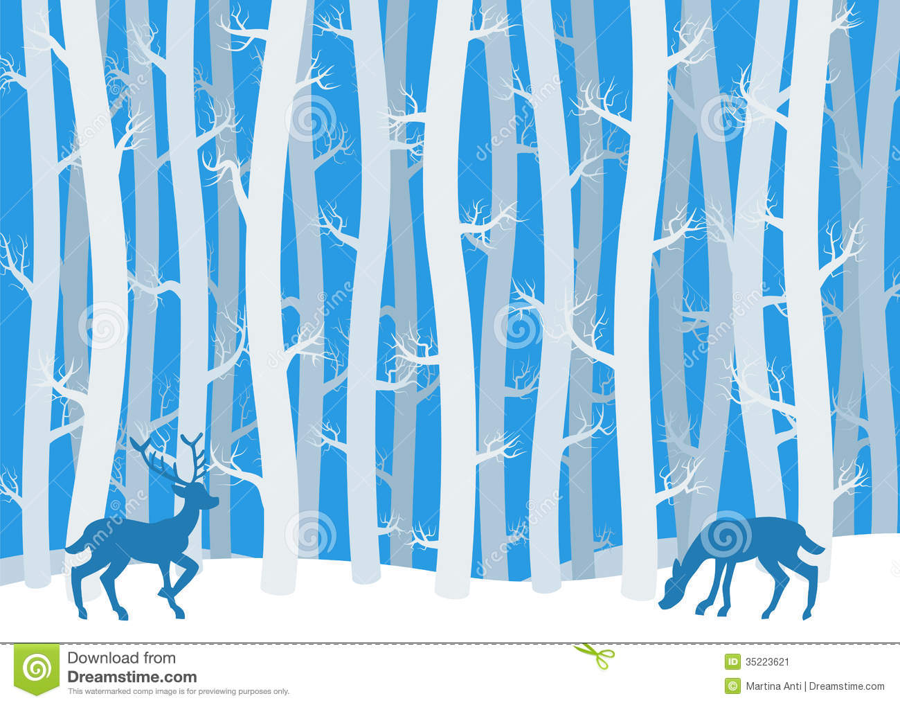 Winter forest clipart.