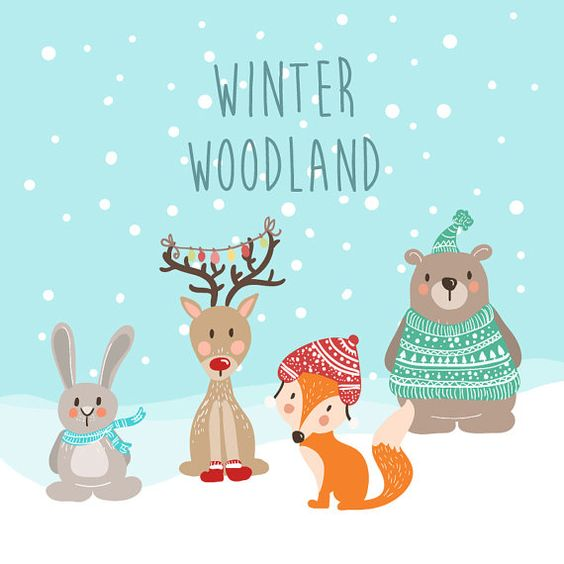 Cute handdrawn winter woodland animal clip art. Ready for you to.