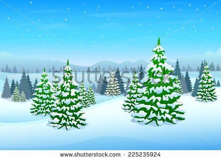 Winter Trees Forest Clip Art.