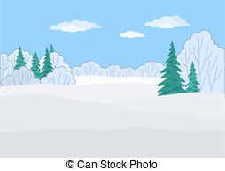 Vector Illustration of Christmas trees under snow, contours.