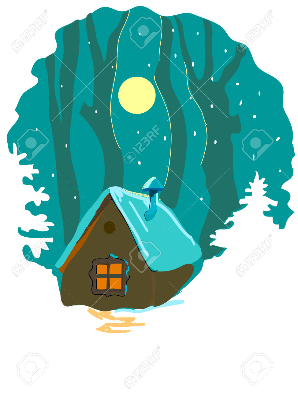 Winter Forest And Cabin Royalty Free Cliparts, Vectors, And Stock.