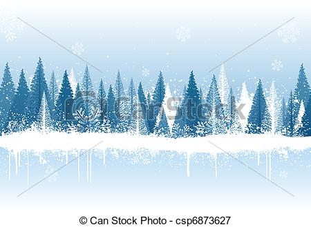 Vectors Illustration of Winter forest background.