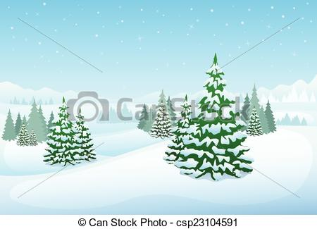 EPS Vectors of winter forest landscape christmas background, pine.