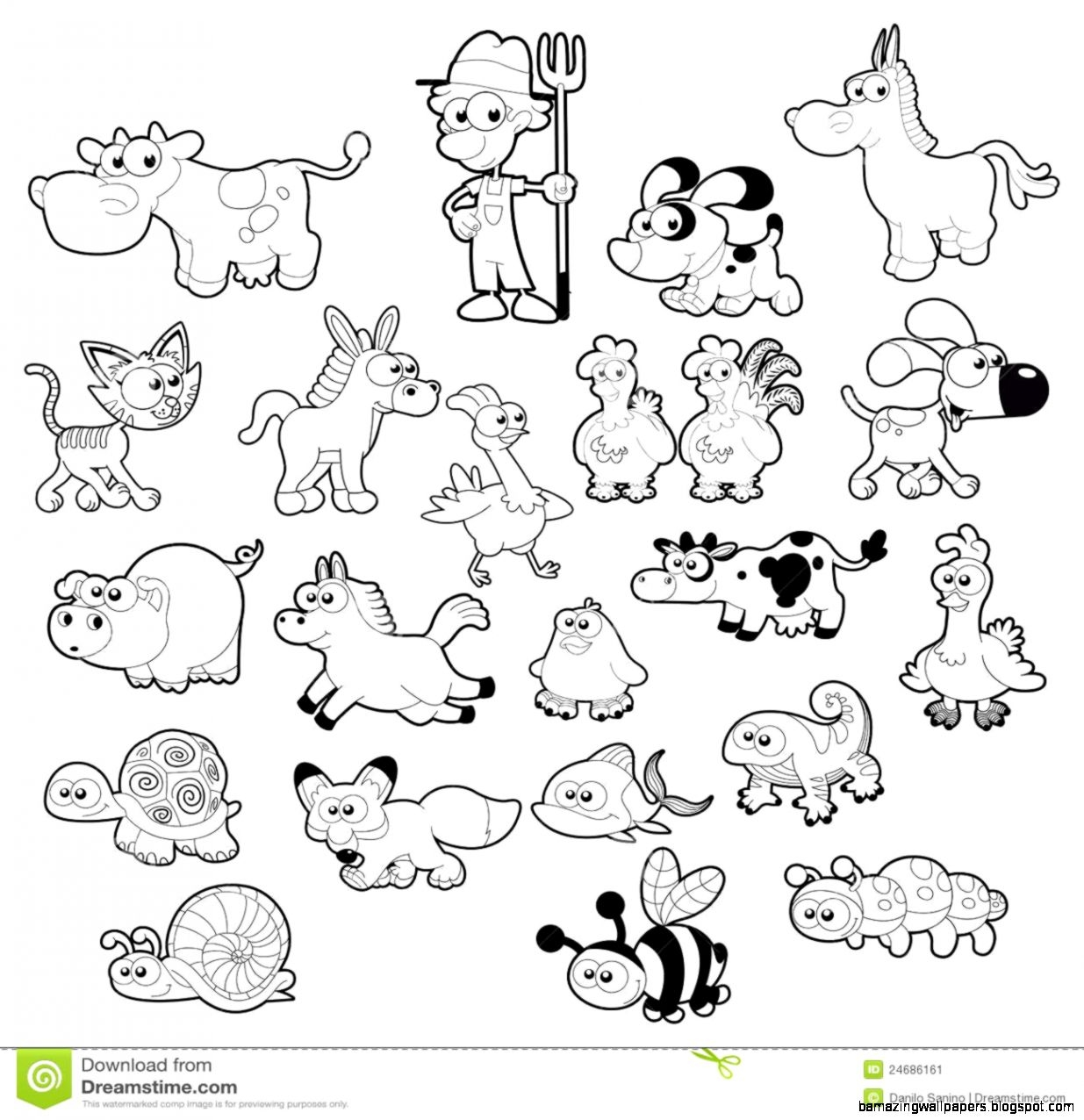 Land animals background clipart black and white.
