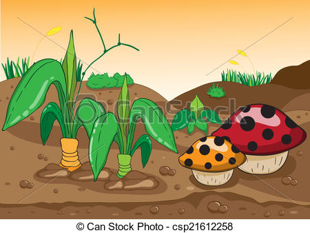 Clipart Vector of Vector illustration of a beautiful forest, land.