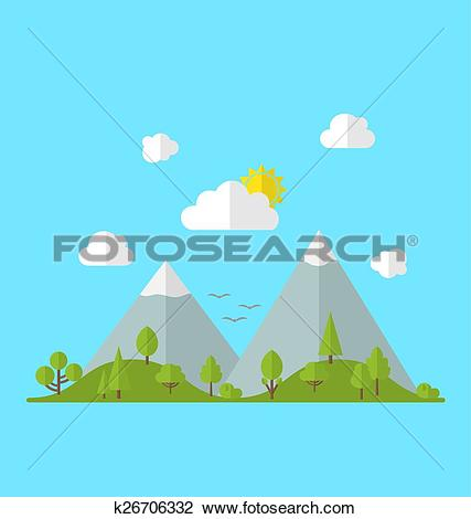 Clipart of Landscape woods valley hill forest land scene view.