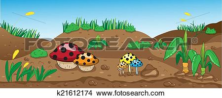 Clipart of Vector illustration of a beautiful forest, land and the.