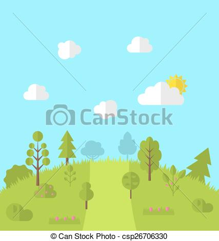 Vectors of Landscape woods valley hill forest land scene view.