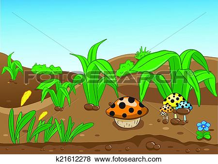 Clip Art of Vector illustration of a beautiful forest, land and.