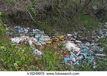 Stock Image of Garbage in the forest k16249975.