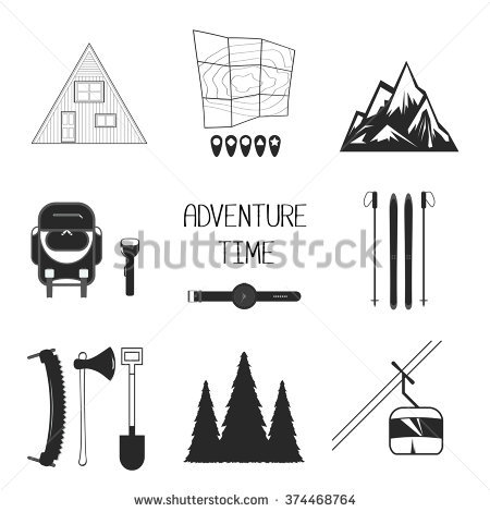 Set Camping Equipment Symbols Icons Stock Vector 130012607.