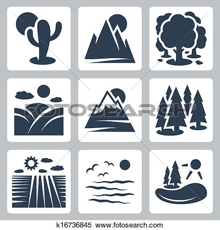 Clipart of Vector nature icons set: desert, mountains, forest.