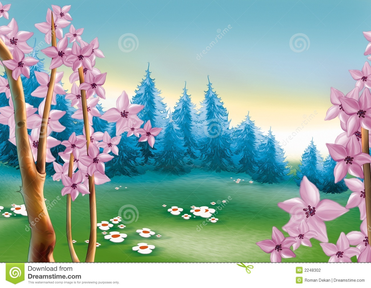 Spring Forest Meadow Stock Photography.