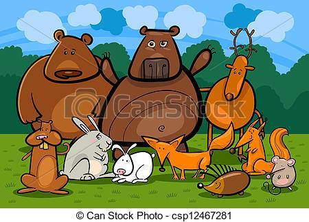 Vector of wild forest animals group cartoon illustration.