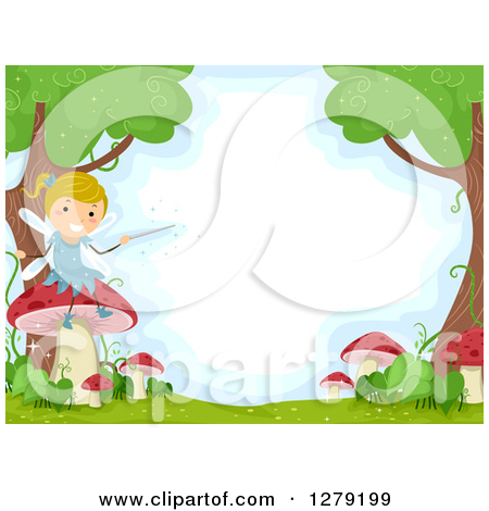Clipart of a Happy Blond Female Stick Fairy Sitting on a Mushroom.