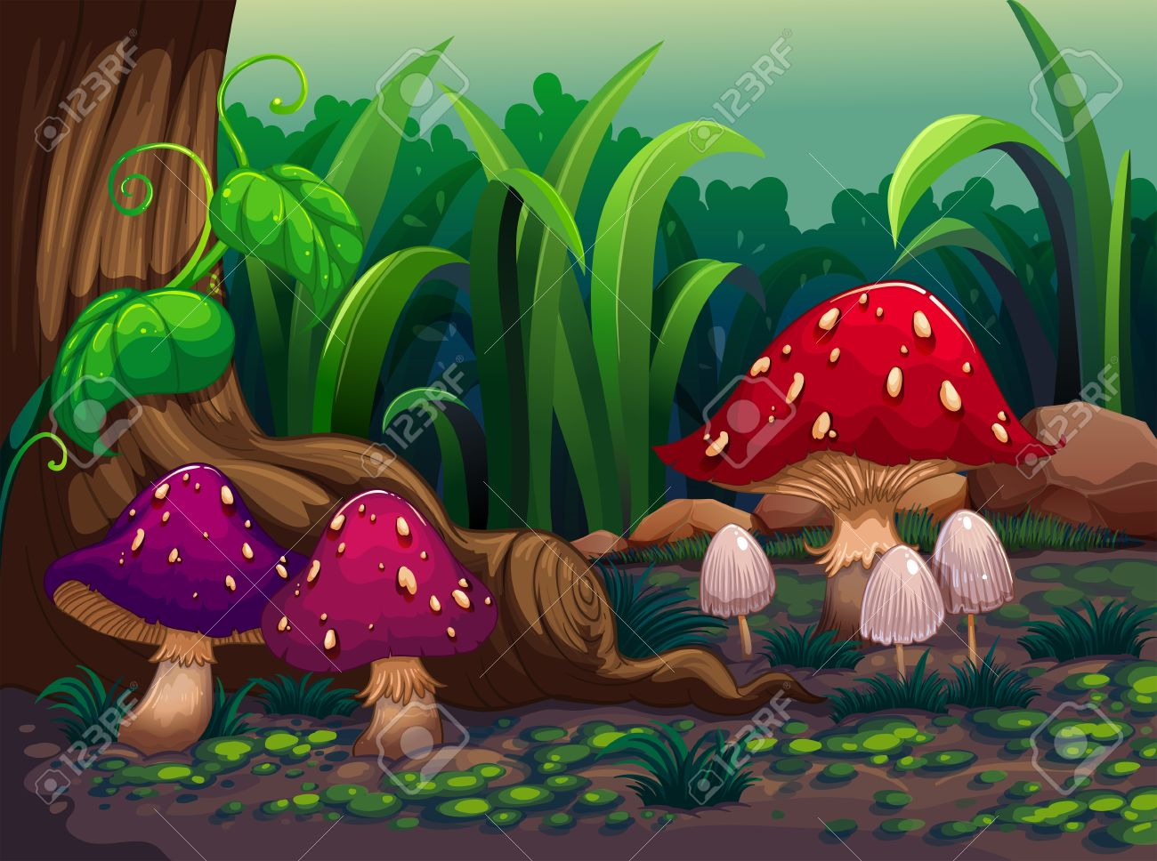 Mushroom forest clipart.