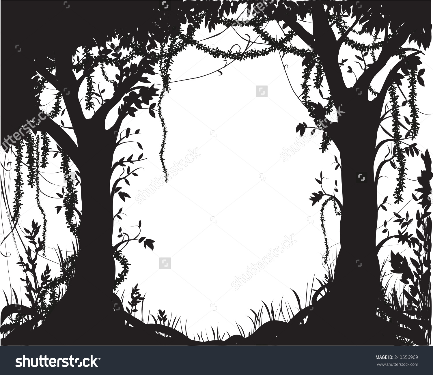 Thicket Deep Fairy Forest Silhouette Jungle Stock Vector 240556969.
