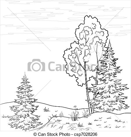 forest outline clipart #9