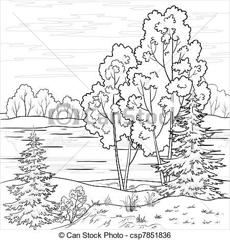 Clip Art Vector of Landscape. Forest river, outline.