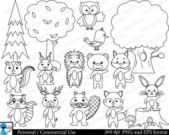 Outline forest animals Set Clipart Digital Clip Art.