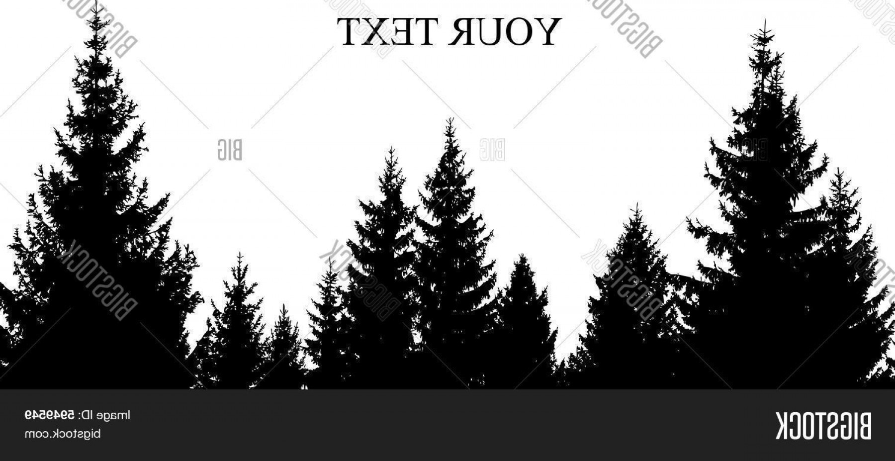 Top Pine Tree Forest Outline Clipart Layout.