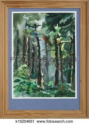 Clipart of pine trees forest painting k15254651.