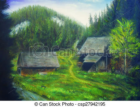 Stock Illustration of painting mountain forest, mountain stream.