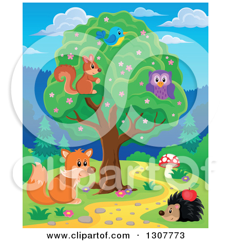 Clipart of a Squirrel, Bird and Owl in a Tree over a Fox and.