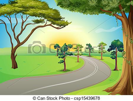 Road in the forest clipart.