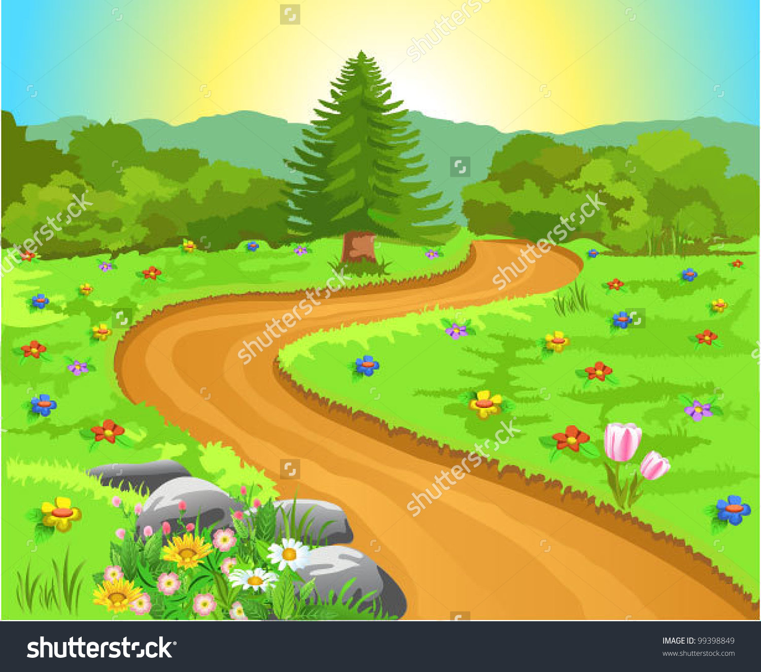 Forest path clipart.
