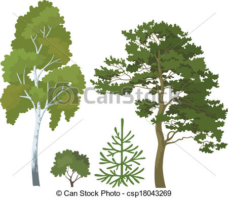 Clip Art Vector of Forest plants set.