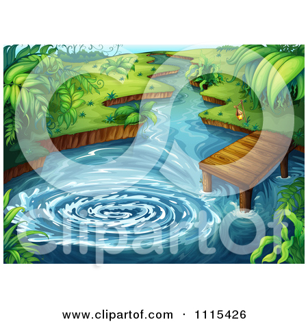 Clipart Whirlpool In A Tropical Forest Pond By A Dock.