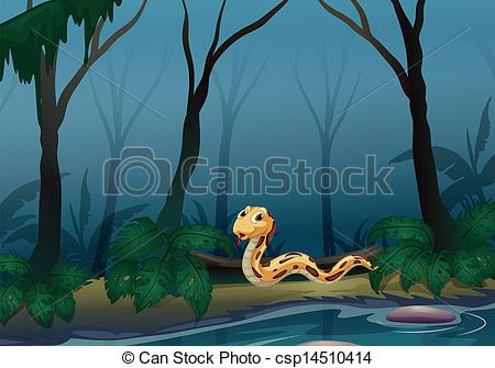 Vector Clip Art of A scary snake in the forest near the pond.