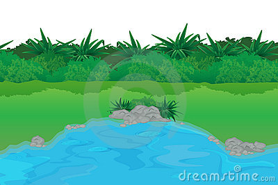Pond Scene Stock Illustrations.