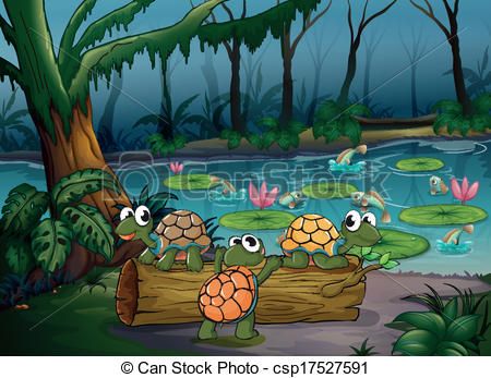 EPS Vectors of A forest with turtles and fishes at the pond.